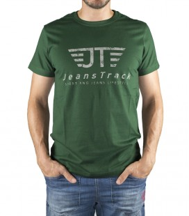 JeansTrack men's basic green cotton T-shirt