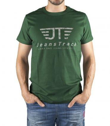 JeansTrack men's basic green cotton T-shirt