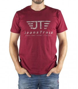 JeansTrack men's basic red cotton T-shirt