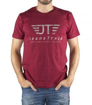 JeansTrack men's basic red cotton T-shirt