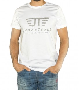 JeansTrack men's basic white cotton T-shirt