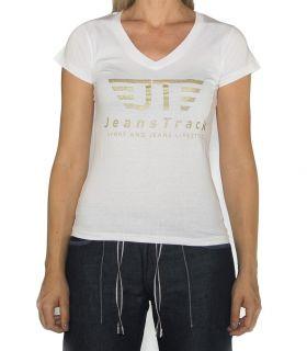 JeansTrack women's basic white cotton T-shirt