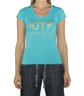 JeansTrack women's basic blue cotton T-shirt