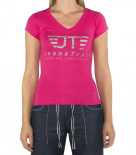 JeansTrack women's basic pink cotton T-shirt