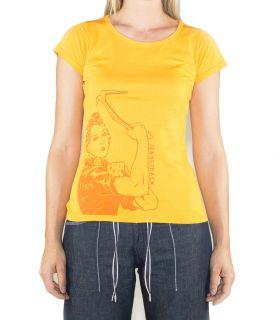 Morella women's orange climbing and trekking cotton T-shirt