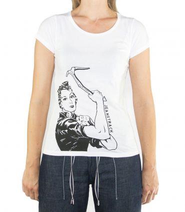 Morella women's white climbing and trekking cotton T-shirt