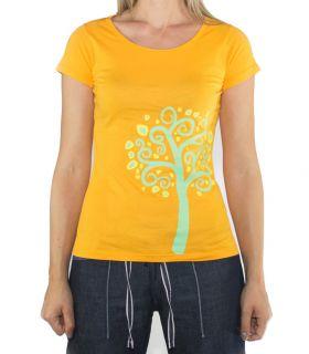Nature women's orange climbing and trekking cotton T-shirt