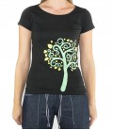 Nature women's black climbing and trekking cotton T-shirt