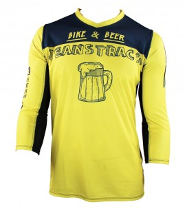 Camiseta técnica MTB bike & beer amarillo 3/4