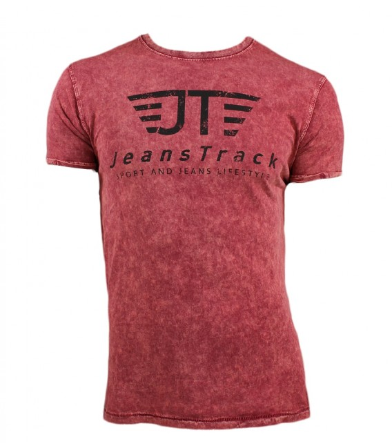 Jeanstrack men's basic snow red cotton t-shirt