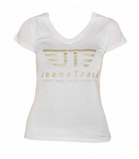 JeansTrack women's basic white cotton T-shirt