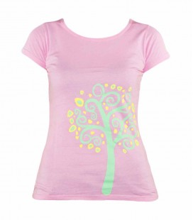 Nature women's pink climbing and trekking cotton T-shirt
