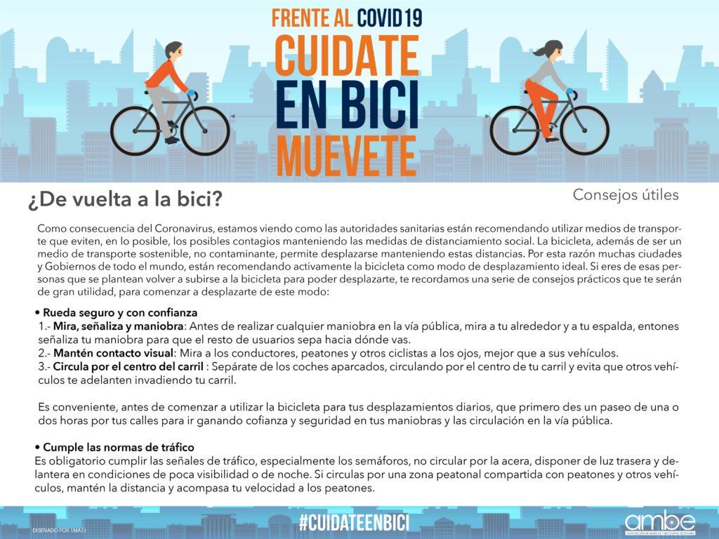 Frente al Covid-19, muévete en bici. Campaña de AMBE y asociaciados por el uso de la bicicleta como medida de seguridad frente al covid-19.