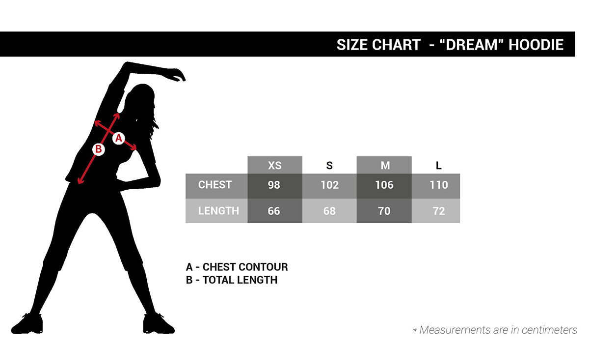 Women Hooide Dream size chart