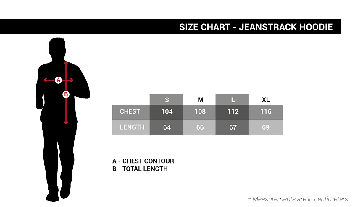 Jeanstrack hoodie size guide
